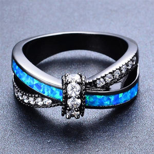 White or Blue Fire Opal Ring.