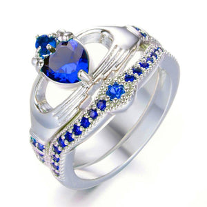 2 in 1 Romantic Heart Sapphire , White Gold filled Claddagh Wedding Ring Set