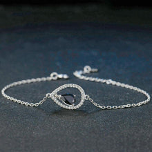 Classic Black Sapphire & White Sapphire, Sterling Silver Charm Bracelet