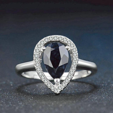 Noble Natural Black Sapphire, Sterling Silver Ring