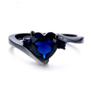Romantic Heart Sapphire, Black Gold filled Ring