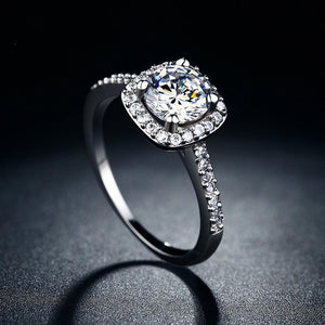 Cushion-Cut Halo Diamond Birthstone Wedding Ring