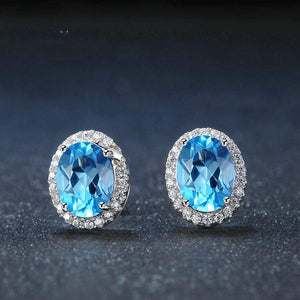 One-of-a-kind Natural Blue Topaz, Sterling Silver Stud Earrings