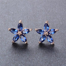 Sweet Daisy Flower Sapphire, White or Rose Gold filled Earrings