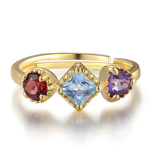 3 in 1 Mystical Blue Topaz , Purple Amethyst and Red Garnet, 14K Yellow Gold plated Sterling Silver Ring - Resizable