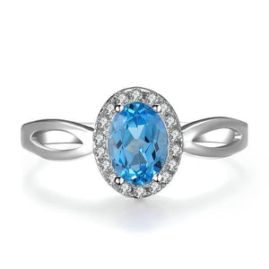 Classic Natural Blue Topaz, Sterling Silver Ring