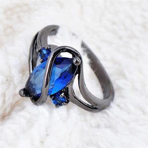 Mystical Sapphire, Black Gold filled Ring