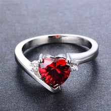 Impressive Heart Garnet, White Gold filled Ring