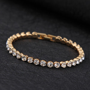 High quality Silver or Gold color Shiny Austrian Crystal Tennis Bracelet, available In several lengths Diamond look