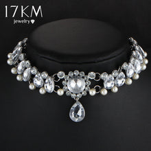 Drop Crystal Choker Necklace with Simulated Pearl, a Great Statement Necklace for a Wedding available in Silver or Gold Color CZ