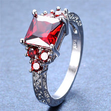 Elegant Garnet, 10K White Gold Filled Ring