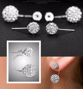Double Ball Design, silver plated Stud Earrings CZ