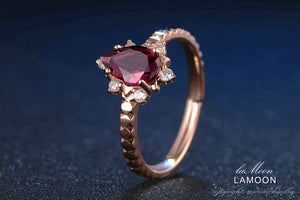 Romantic Garnet, Rose Gold plated Sterling Silver Ring - Resizable