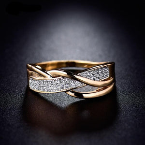 Interwoven like Our Love, Crystal Gold color Ring CZ wedding