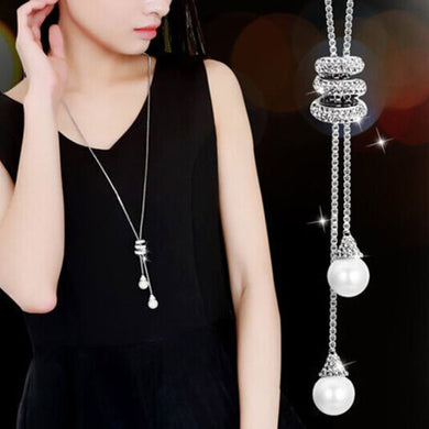 Long Chain Necklace with Two Simulated Pearl Drops with 3 rings of cz sparkle in Silver or Gold color