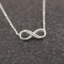 Infinity Crystal Necklace in Gold or Silver Color Diamond look
