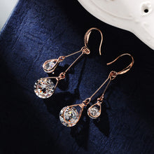 Fine Rose Gold color Dangling Earrings with 2 CZ
