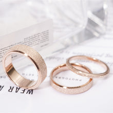 Rose Gold color Stainless Steel, Diamond frost Look Wedding Ring Band available in 3 widths