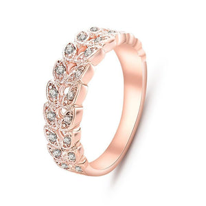 Top Quality Austrian Crystals Diamond look in a beautiful Rose Gold color leaves setting Wedding Band