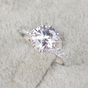 Sparkling Diamond cz, Platinum filled Wedding Ring