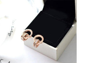 Roman Numerals CZ Stud Earring Stainless Steel available in Gold/Rose Gold/Silver color