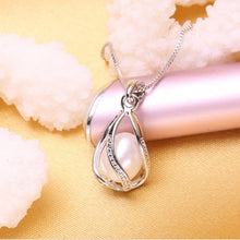 100% Natural Freshwater Pearl Pendant Necklace , Sterling Silver Setting in 4 beautiful colors