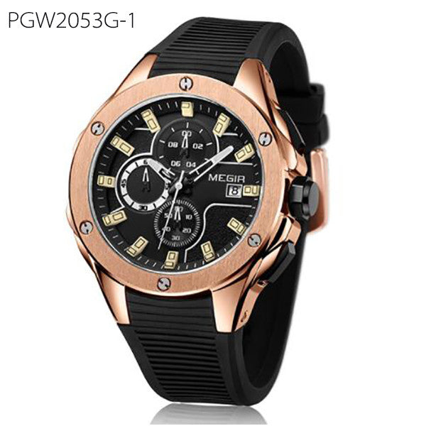 Luxury Men Sport Watch Chronograph Silicone Strap Quartz Army