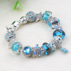 Aqua Turquoise Beach Theme Charm Bracelet Murano Glass Beads Turtles, Starfish and Seahorse