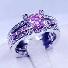 2 in 1 Charming Cubic Zirconia of various combinations of colors , White Gold Filled Wedding Ring Set