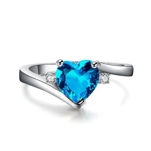 Romantic Heart Aquamarine, White Gold filled Ring