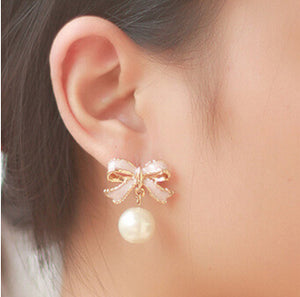High Quality Delicate Gold Color Pink Bow with Simulated Pearl Drop Stud Earrings