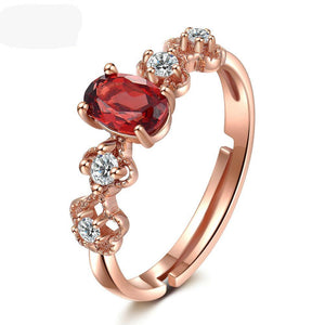 Vintage Natural Garnet, 18K Rose Gold plated Sterling Silver resizable Ring