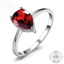 Pear 1.4ct Natural Red Garnet Solitaire, Sterling Silver Ring