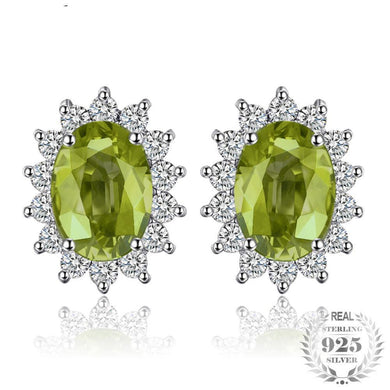 Princess Diana Inspired 0.98ct Natural Peridot, Sterling Silver Stud Earrings
