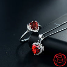 Gorgeous Garnet with White Sapphire, Sterling Silver Jewelry Set