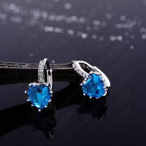 French clip with Heart Drop Blue Topaz color Cubic Zirconia, Sterling Silver Jewelry Earrings