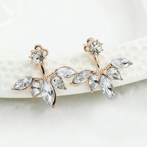 Stud Solitaire Earrings with Crystal Diamond look Backs with Leaf look, available in Gold and Silver color