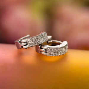 Three designs of Cool Men's or Women's Stainless Steel Diamond look Hoop Earrings