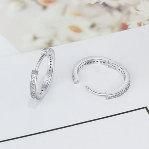 Quality CZ Round Hoop Earrings set in Sterling Silver
