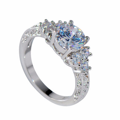 Splendid Engagement or Wedding Ring CZ White Gold filled