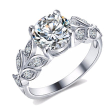 Leaf Detailed Solitaire Engagement Ring CZ Crystal, Zinc Alloy wedding setting