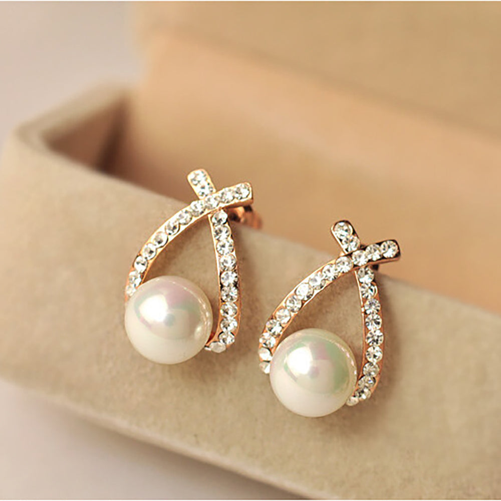Gold Crystal Stud Simulated Pearl Drop Earrings