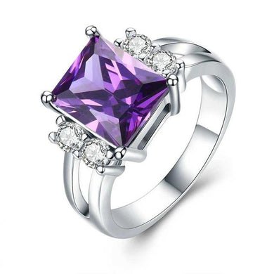 Cushion Cut Created Amethyst, Sterling Silver Ring