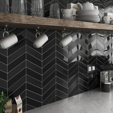 Chevrona Black Gloss Left Wall Tile