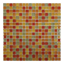 Gemini Mosaics Crystal Red Flame Mosaic Tile - 15x15mm (Sheet 300x300mm)