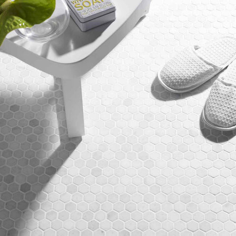 Mosaics Luxe White Hexagon Stone Mosaic tile from House of British