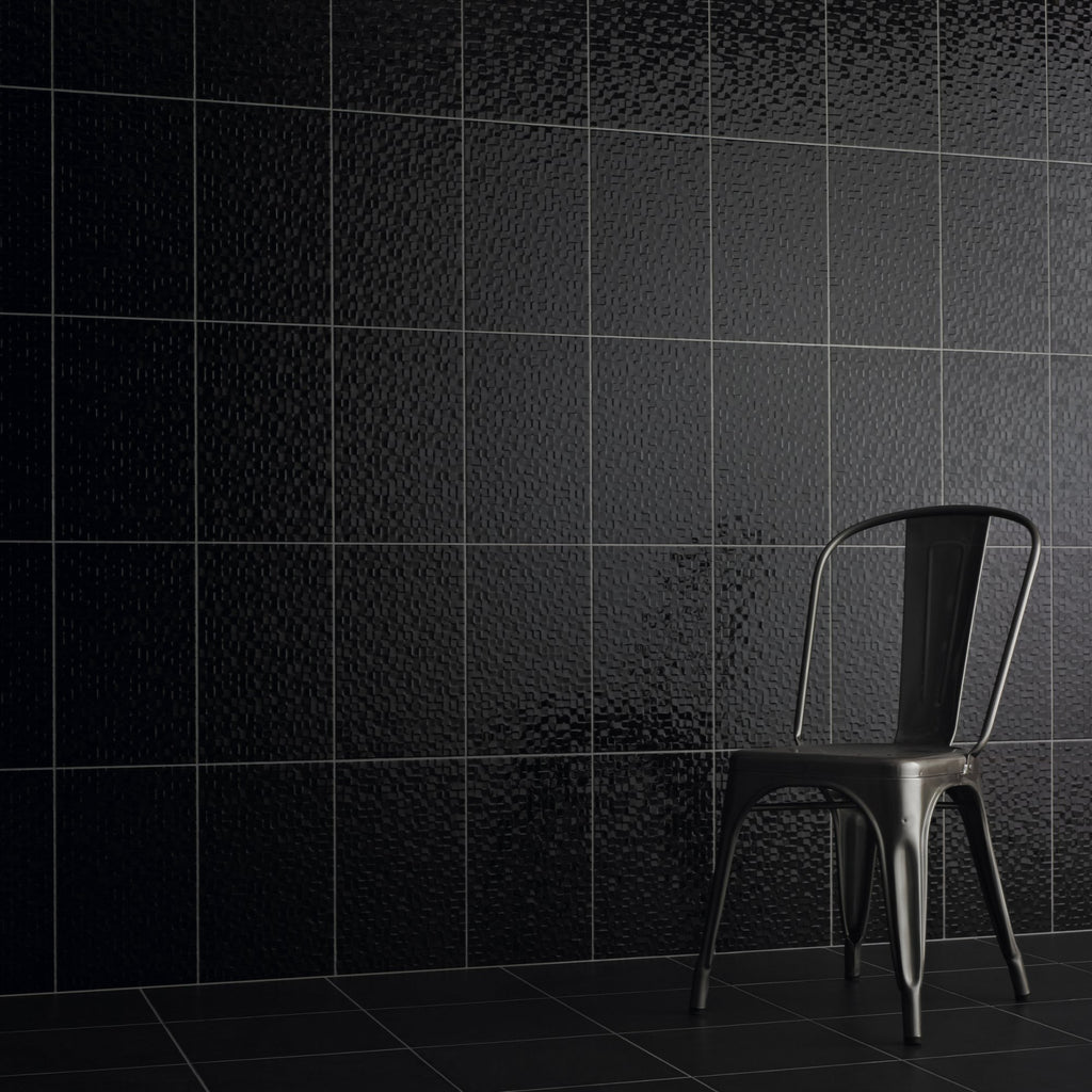 Black Pressed Textured Wall Tile