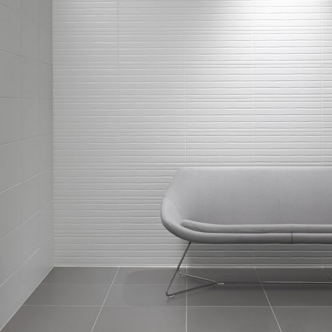 Tiles by Studio Conran Linea Flow Flow White Satin Wall