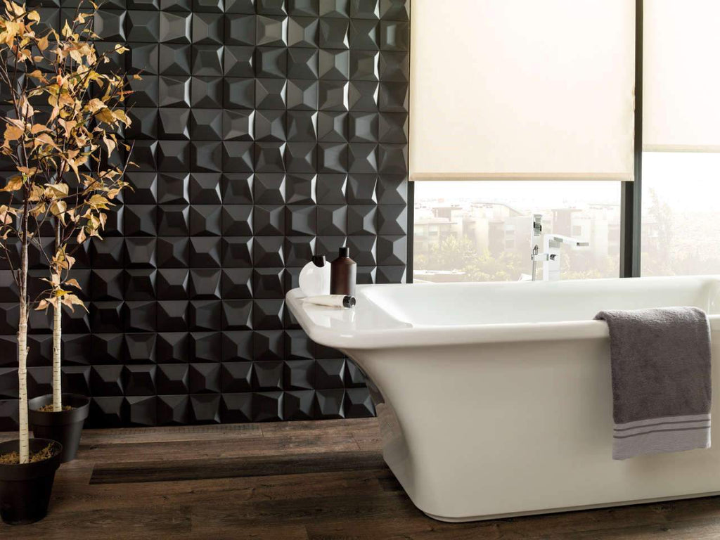 Porcelanosa Faces S3 y S4 Negro Textured Wall Tiles