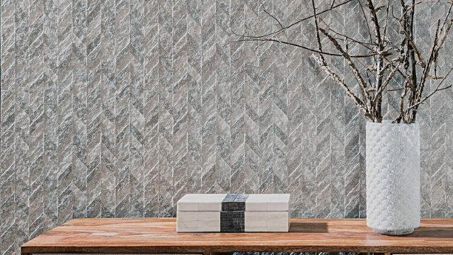 Porcelanosa Pierce Silver Textured Wall Tiles 45x120 cm